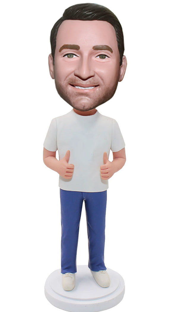 Custom Thumbs Up Bobblehead Man, Custom Bobblehead Thumbs Up Man - Abobblehead.com