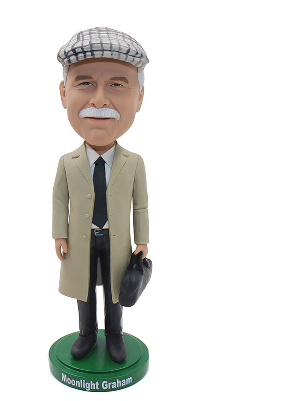 Custom Bobbleheads Old Man With Long Coat, Custom Detective Bobblehead - Abobblehead.com