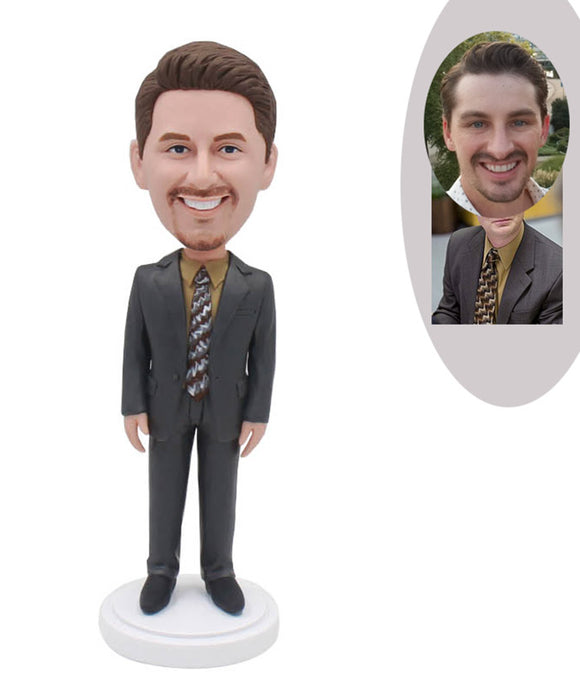 Custom Business Suit Bobblehead, Custom Bobblehead Man In Suit - Abobblehead.com