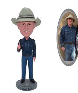 Custom Cowboy Bobblehead Thumbs Up From Your Photos - Abobblehead.com