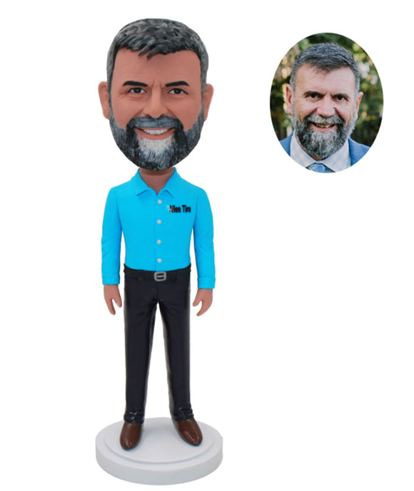 Custom Beard Bobblehead For Father, Personalized Bobblehead T Shirt Man - Abobblehead.com