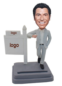Custom Sold Bobblehead, Custom Bobblehead Business Card Holder, Bobblehead With Company Logo - Abobblehead.com