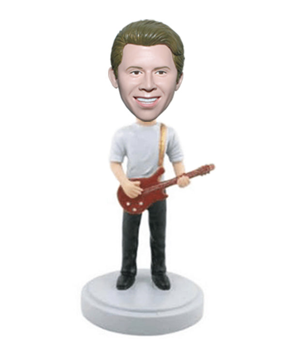 Custom Guitar Bobblehead, Personalized Bobble Head Guitar Player, Male Bobblehead Playing Guitar - Abobblehead.com