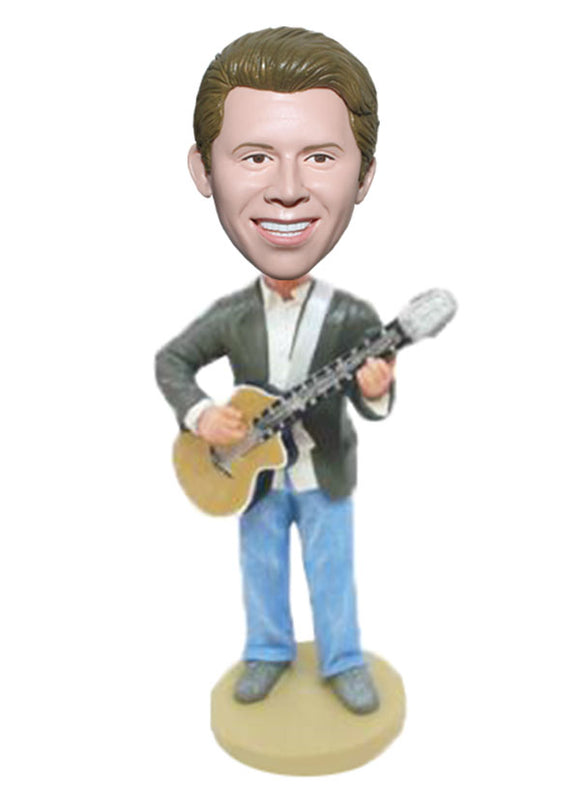 Custom Play The Guitar Bobblehead, Custom Bobblehead Holding Acoustic Guitar - Abobblehead.com