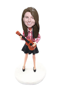 Custom Guitar Bobblehead Gifts For Women, Custom Female Guitar Bobblehead - Abobblehead.com