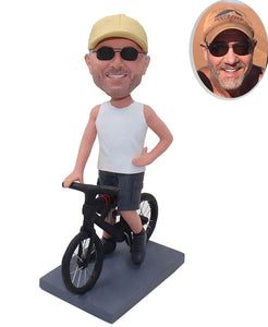 Personalized Bobble Heads On A Bicycle, Custom Bike Bobblehead Man - Abobblehead.com