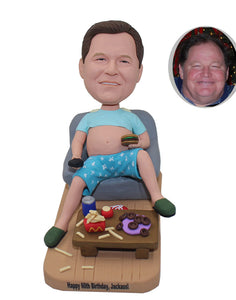 Custom Big Belly Man Bobbleheads Eat and Drink, Personalized Big Stomach King Bobblehead - Abobblehead.com