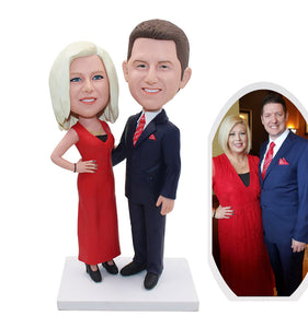 Custom Bride And Groom Cake Toppers Bobbleheads, Custom Couple Bobbleheds For Wedding - Abobblehead.com