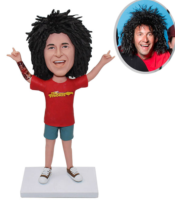 Custom Afro-Look Man Bobblehead, Personalized Kill Matt Bobbleheads For Boys - Abobblehead.com