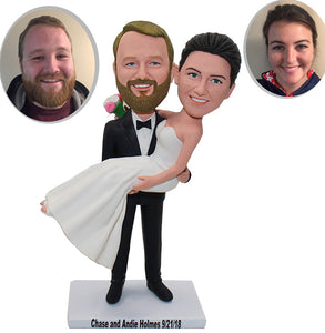 Personalized Bride and Groom Cake Topper, Custom Wedding Cake Toppers Bobbleheads Gifts for Wedding - Abobblehead.com