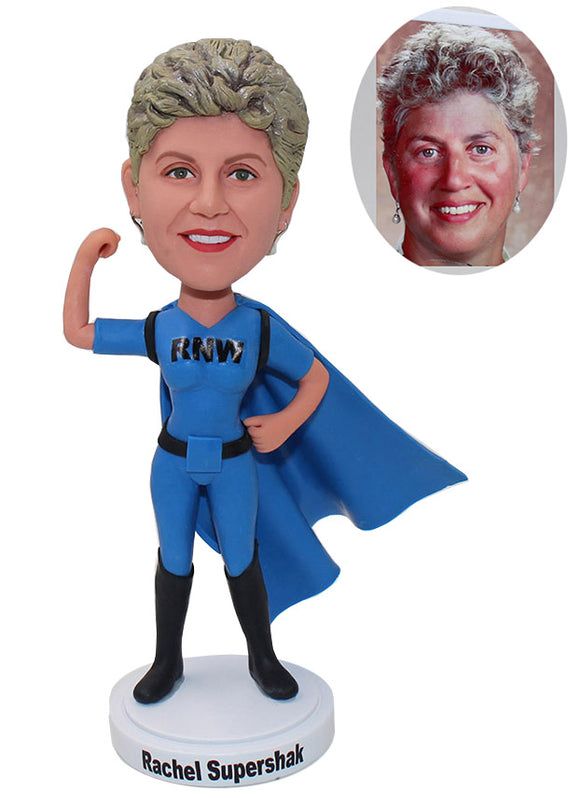 Cheap Custom Superman Bobblehead Woman, Super Mom Bobblehead Hero - Abobblehead.com