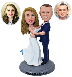 Custom Wedding Couple Bobbleheads Cake Toppers, Customized Bobblehead Wedding Cake Topper - Abobblehead.com