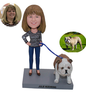 Custom Woman Walking Dog Bobblehead, Personal Bobblehead Dog And Owner - Abobblehead.com