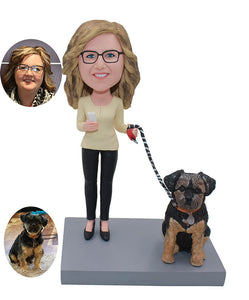 Custom Female Bobbleheads With A Dog, Personalized Bobblehead For Her With Dog - Abobblehead.com