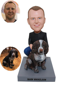 Custom Bobblehead Man With Dog, Custom Bobblehead That Looks Like You And Your Dog - Abobblehead.com