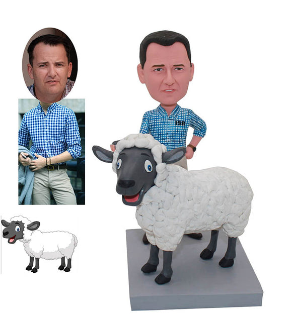 Custom Bobblehead Male With Sheep From Photos That Look Like You And Your Sheep - Abobblehead.com