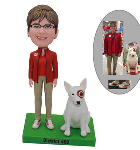 Custom Women Bobblehead With Dog, Custom Made Bobbleheads That Look Like You And Your Dogs - Abobblehead.com