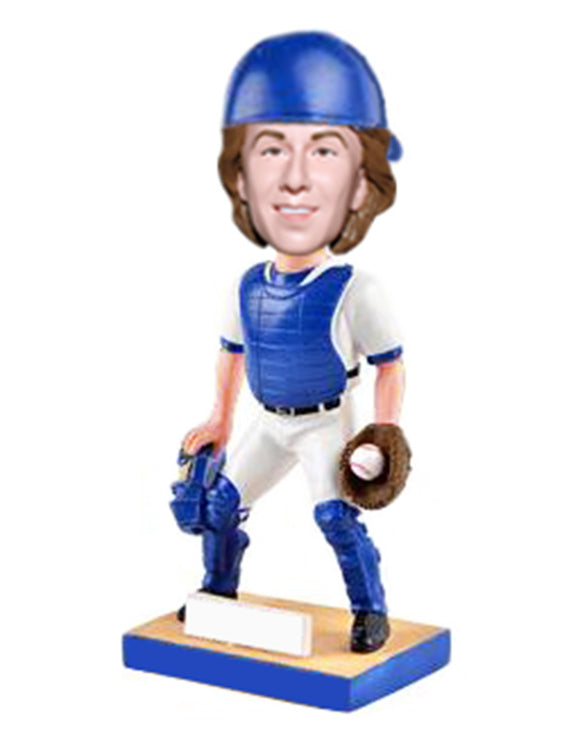 Custom Bobblehead Baseball Catcher, Personalized Baseball Catcher Bobblehead - Abobblehead.com