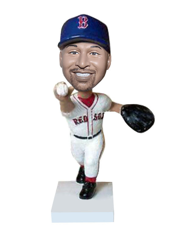 Custom Face Pitching Baseball Bobblehead, Personalized Baseball Pitcher Bobblehead - Abobblehead.com
