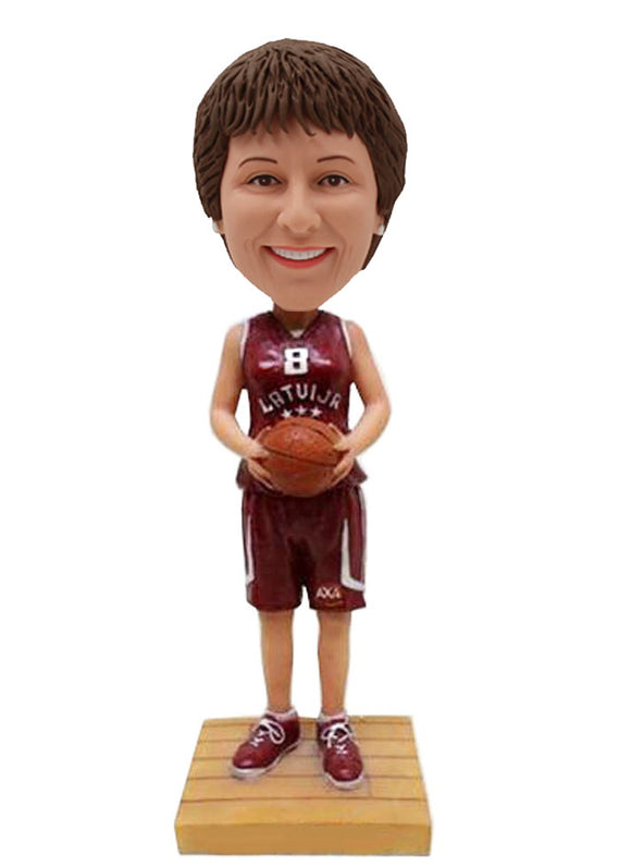 Custom Bobbleheads Female Basketball, Personalized Basketball Girls Player Bobbleheads - Abobblehead.com