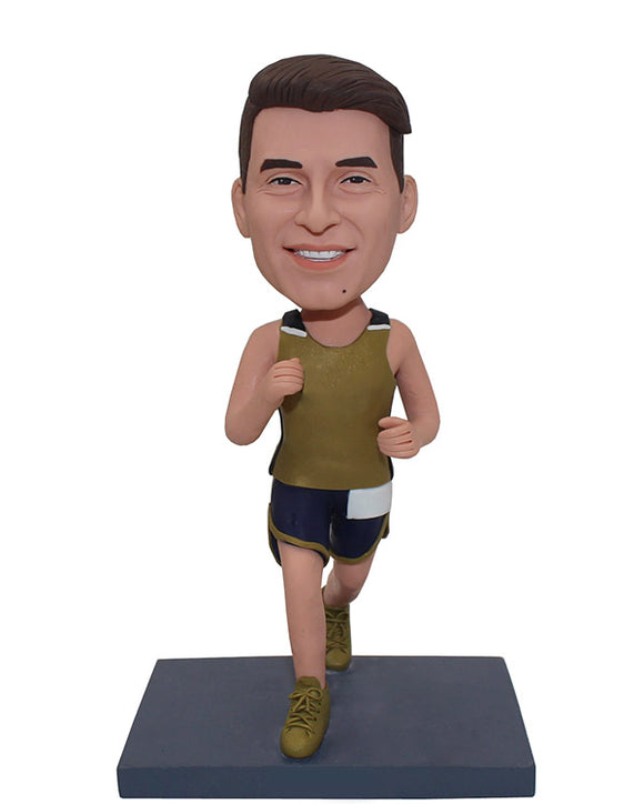 Custom Bobblehead Running, Personalized Male Runner Bobblehead, Marathon Athletes Bobblehead - Abobblehead.com