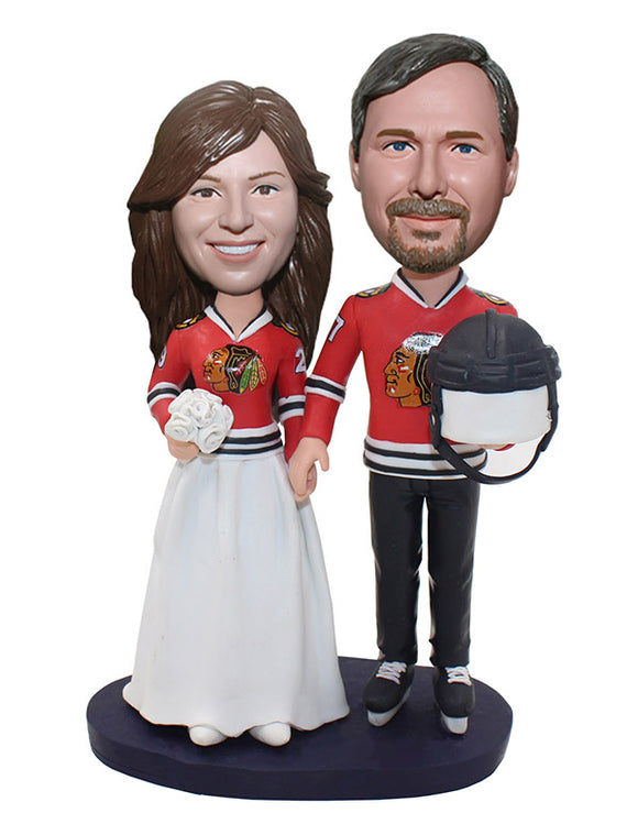 Custom Sports Wedding Bobble Head Cake Topper, Personalized Sports Wedding Cake Toppers - Abobblehead.com