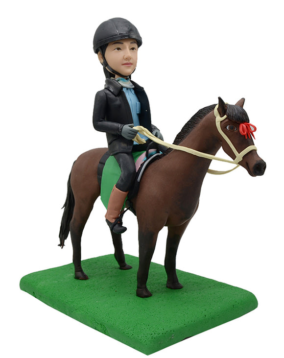 Custom Horse Riding Bobbleheads Doll, Custom Race Horse Bobbleheads - Abobblehead.com