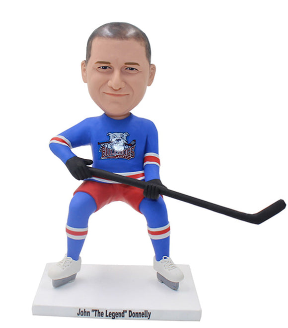 Custom Hockey Player Bobblehead, Personalized Ice Hockey Player Figurine - Abobblehead.com