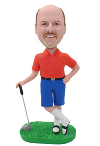 Personalized Bobble Head Golfing With Real Picture, Golf Gifts for Dad Bobblehead - Abobblehead.com