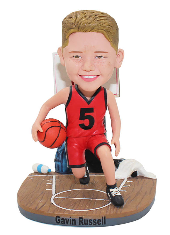 Personalized Basketball Bobblehead For Boy, Make Your Own Basketball Bobblehead Kid - Abobblehead.com
