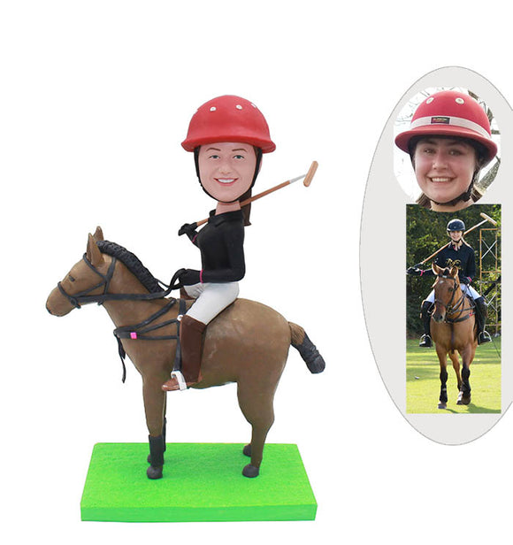 Custom Polo Player Bobbleheads, Personalized Bobbleheads Polo Player Riding A Horse - Abobblehead.com