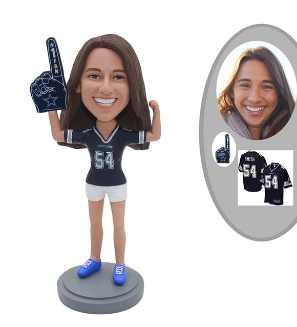 Personalized Sports Fan Bobblehead, Personalized Bobblehead Football Fan Girl