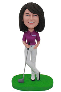 Best Personalized Golf Bobblehead Gifts For Girl, Custom Bobblehead Playing Golf - Abobblehead.com