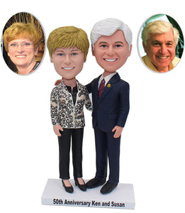 Custom Anniversary Couple Bobbleheads Free Shipping Over $249 - Abobblehead.com