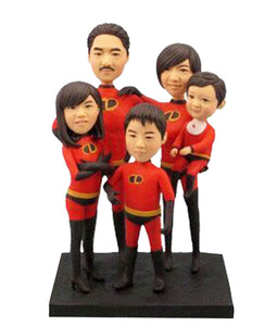 Custom Five Person Bobbleheads, Personalized Family Bobbleheads - Abobblehead.com