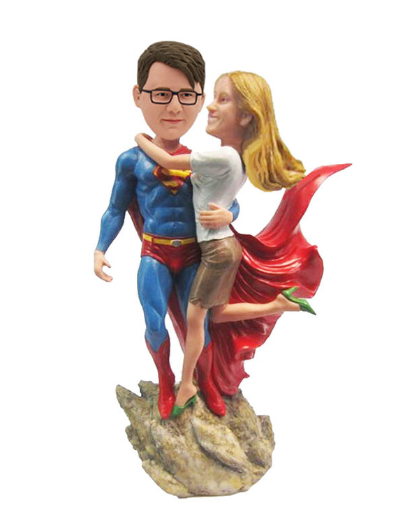 Custom Superman Couple Bobblehead, Personalized Superman 2 People Bobbleheads - Abobblehead.com