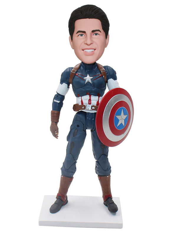 Captain America Custom Bobblehead That Look Like You, Custom Bubble Head Captain America - Abobblehead.com