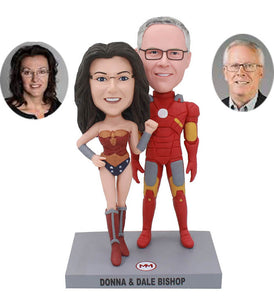Custom Superhero Couple Bobbleheads, Custom Wonder Woman And Iron Man Bobbleheads - Abobblehead.com