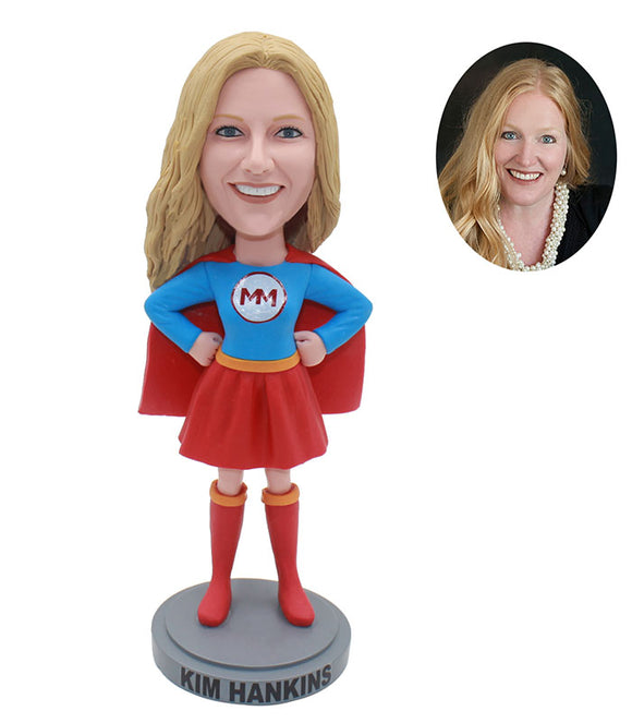 Custom Superhero Bobbleheads, Personalized Bobblehead Superwoman - Abobblehead.com