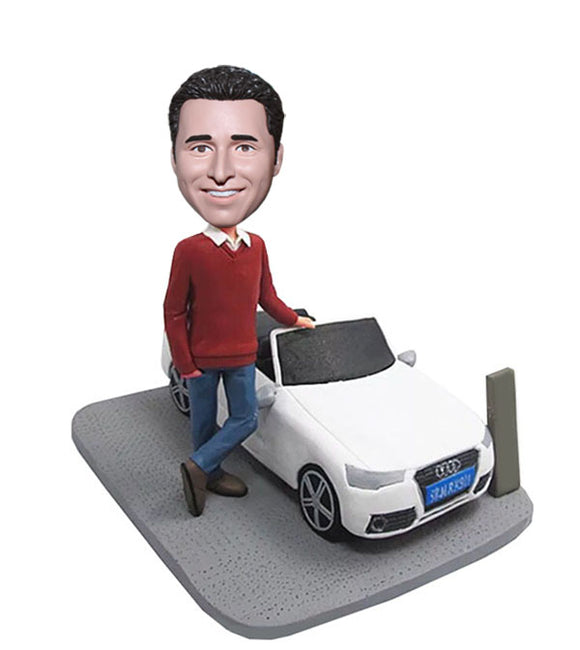 Custom Male Bobbleheads With Audi Sedan, Personalized Car Bobbleheads Of Yourself - Abobblehead.com