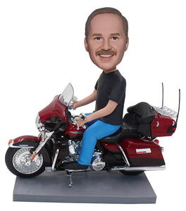 Custom Bobble Head Man Motorcycle, Personalized Bobblehead Doll on Motorcycle - Abobblehead.com