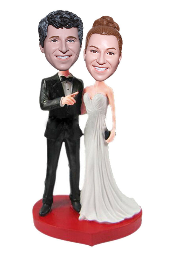 Best Custom Bobbleheads Wedding Cake Toppers, Custom Wedding Bobbleheads Heart Shaped Base - Abobblehead.com