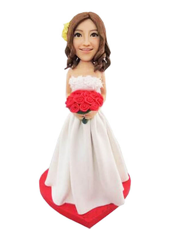 Custom Bridal bobbleheads, Custom Wedding Bobbleheads Bride Doll - Abobblehead.com
