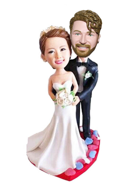 Personalized Bride and Groom Bobbleheads, Affordable Custom Bobblehead For Wedding - Abobblehead.com