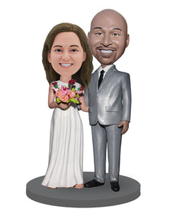 Personalized Bobble Head Bride And Groom, Custom Bobbleheads Wedding Topper From Photo - Abobblehead.com