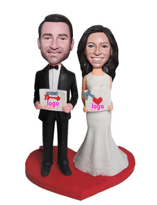 Custom Wedding Cake Toppers, Personalized Bride and Groom Bobbleheads - Abobblehead.com