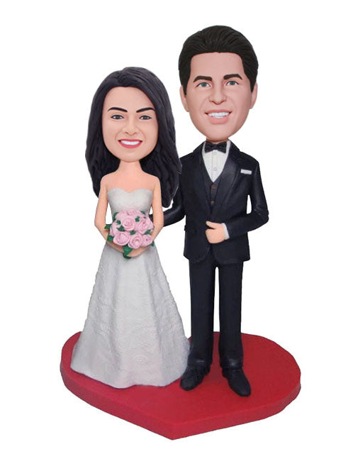 Personalized Funny Bride And Groom Cake Topper Wedding Bobbleheads - Abobblehead.com