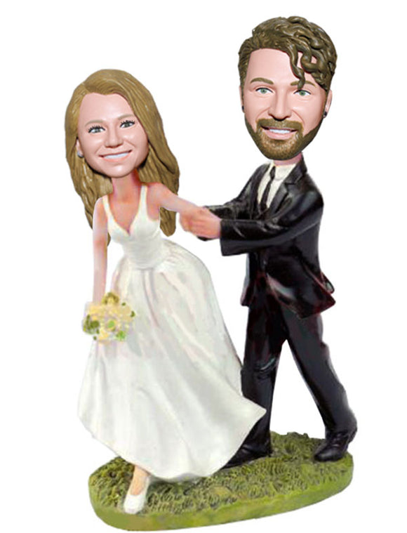 Custom Bride And Groom Bobbleheads, Personalized Bride and Groom Cake Topper - Abobblehead.com