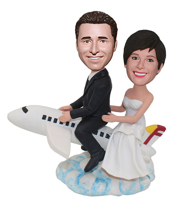 Custom Wedding Bobbleheads On The Airplane, Personalized Airplane Pilot Bobbleheads - Abobblehead.com
