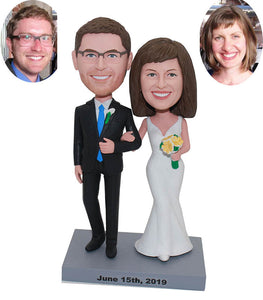 Custom Wedding Anniversary Couple Bobbleheads, Personalized Bobbleheads Wedding Cake Topper - Abobblehead.com